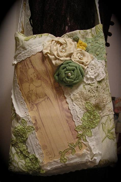 Embellished Floral Tote fabric bag handmade roses beads