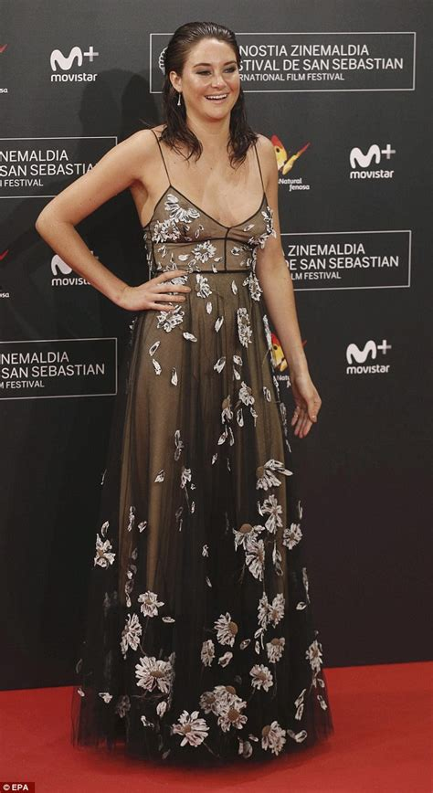 Shailene Woodley goes braless in floral dress at Snowden