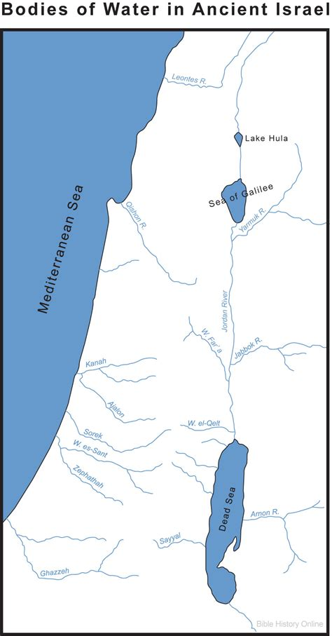 Map of Israel's Bodies of Water (Bible History Online)