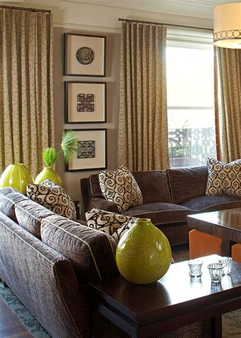 Taupe, brown & lime green | Brown, green living room
