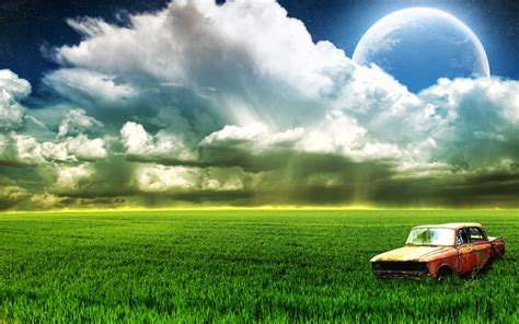 Farm Old Car Moon Clouds Wallpapers   HD Wallpapers   ID