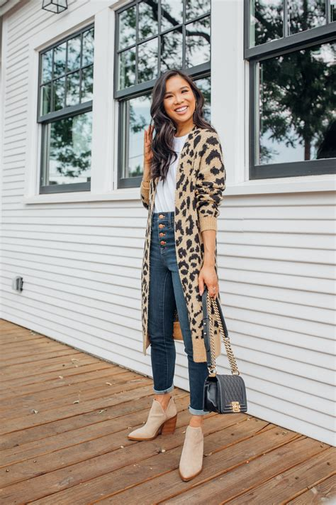 Leopard Cardigan Outfit with Booties for Now & For Fall