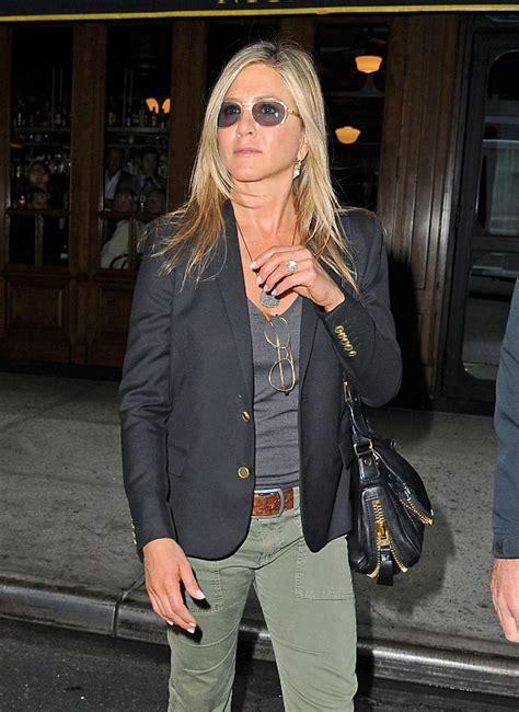 Jennifer Aniston in suede grey dress at Living Proof Web