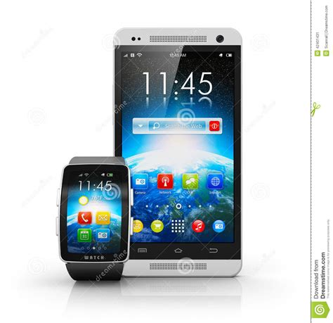 Smartphone And Smart Watch Stock Illustration - Image