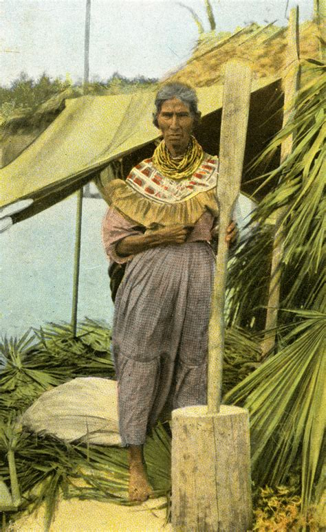 """Florida Memory - Postcard showing the """"oldest Seminole"""